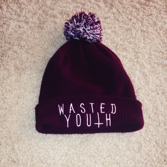 Wasted youth beanie with bobble d695da9168e