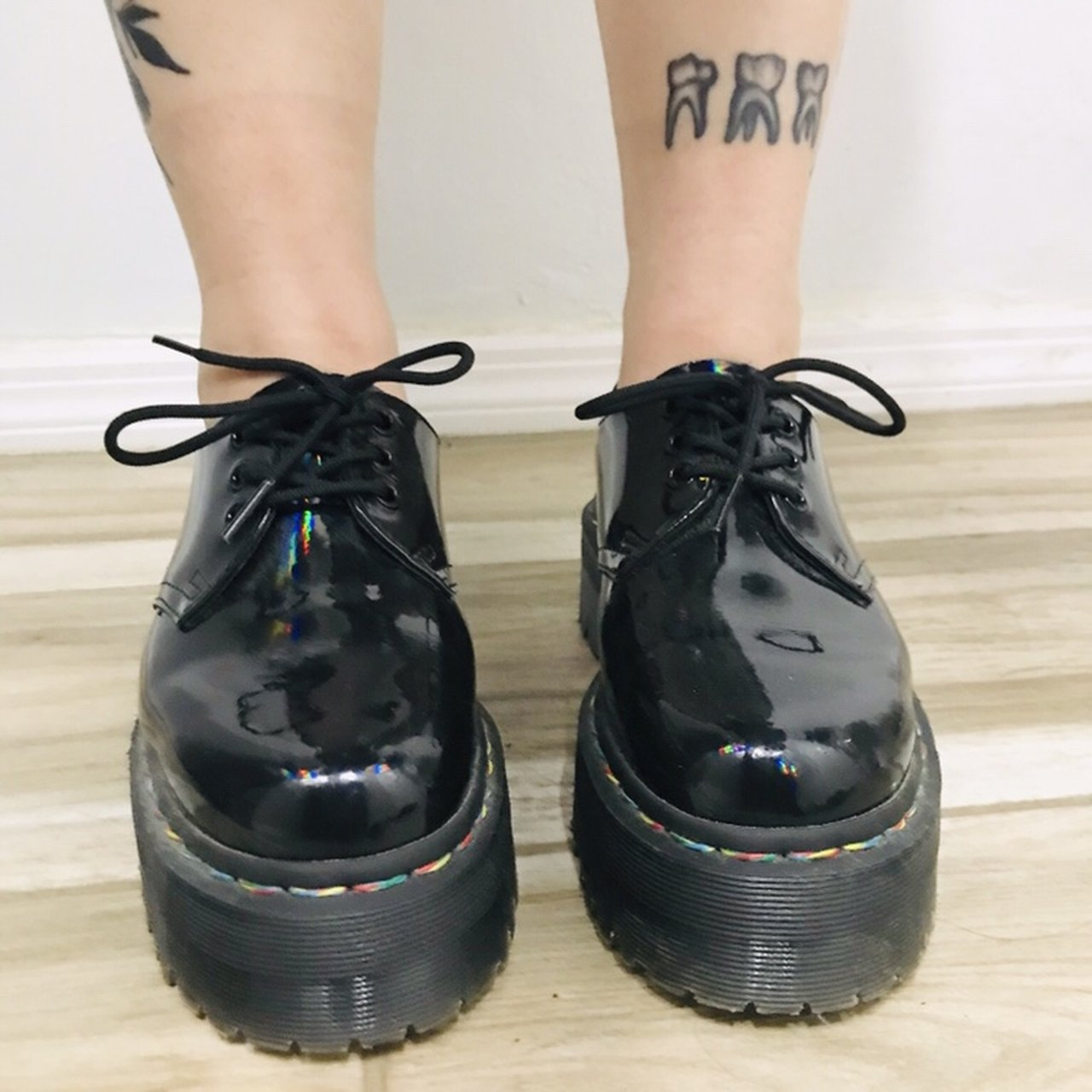 88d44c768d @creativerhino. 2 months ago. Los Angeles, United States. Dr. Martens 1461  Quad 3-Eye with a rainbow welt stitching. Black Rainbow Patent Leather.