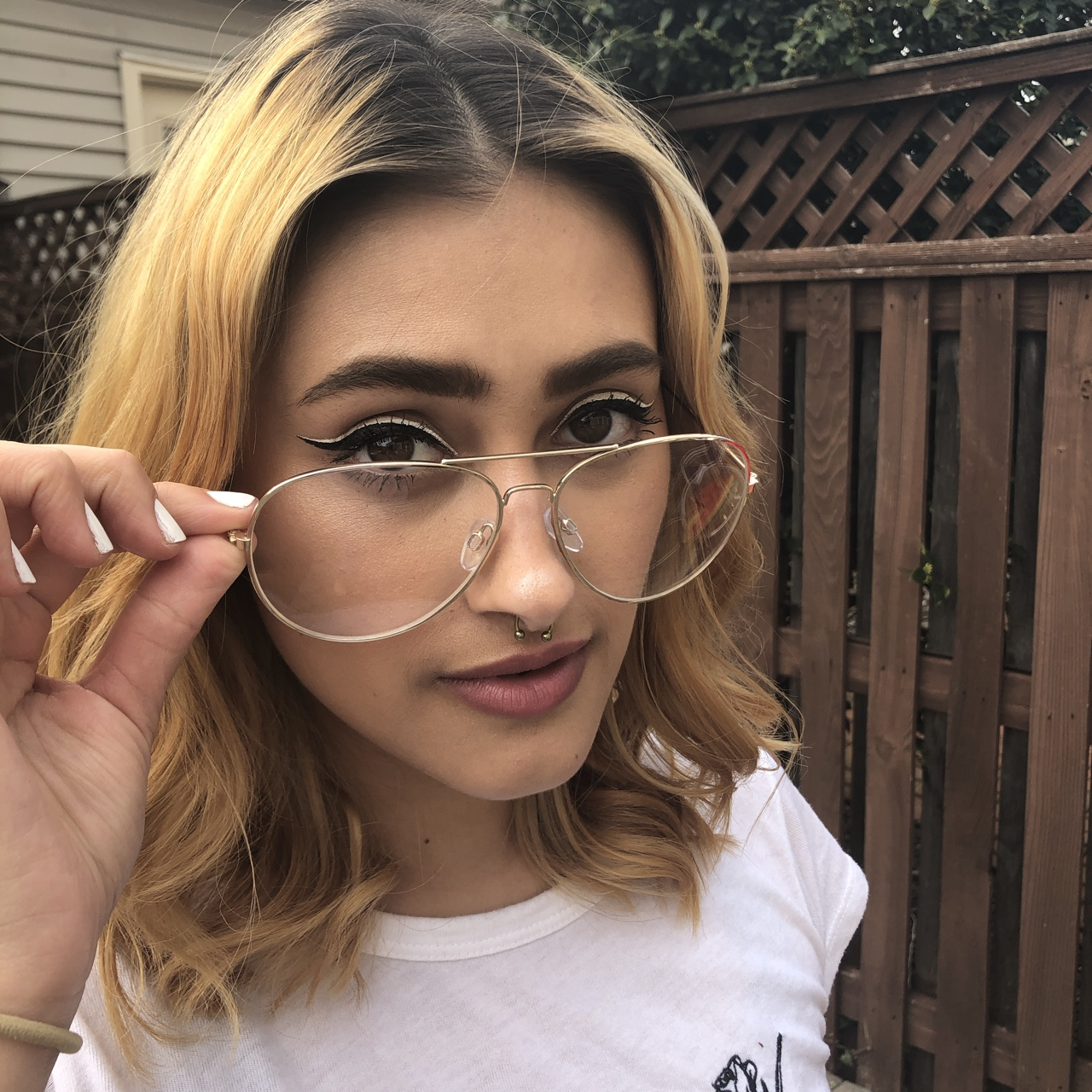 9b2b28a91a2f Gold wire-frame glasses. Just for show tho, up your... - Depop