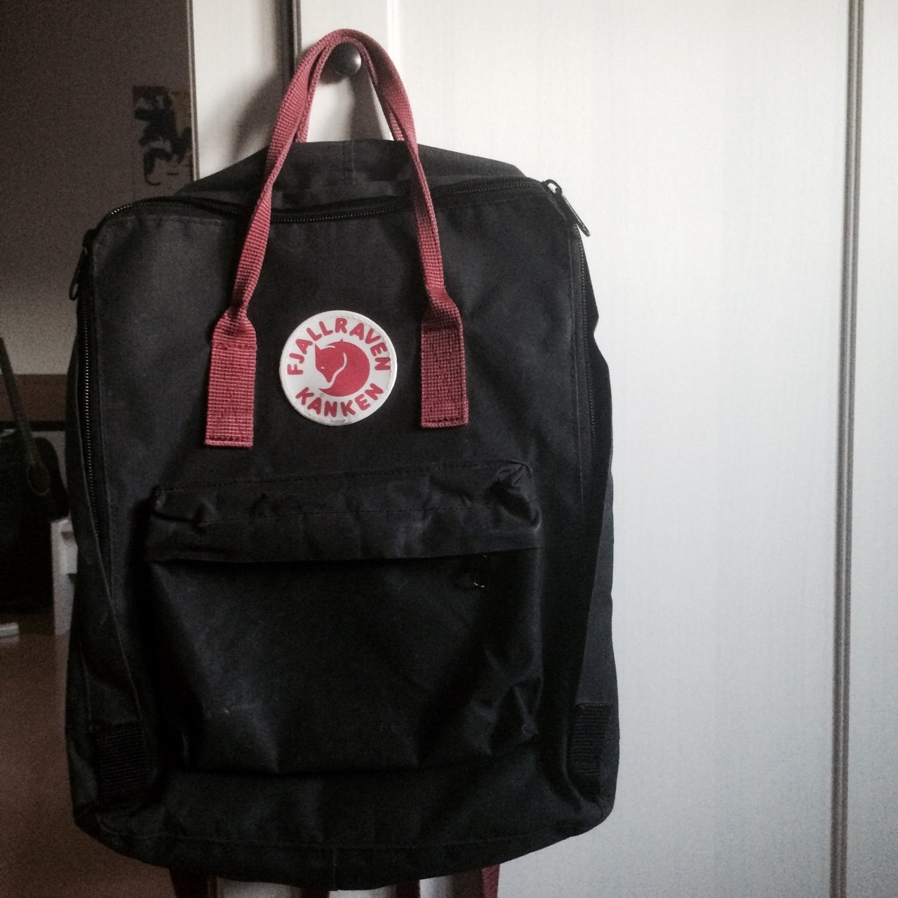4acdfe5b24c Fjällräven classic Kanken backpack. Black and Oxred. Bought - Depop