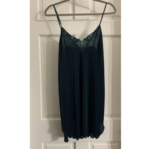 3d25b7e22745 Vintage! Super cute hunter green slip dress with ridged and - Depop
