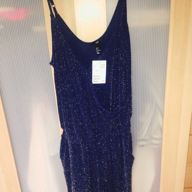 bea7914a9ad H M dark blue and gold shimmer Jumpsuit size 8 brand new on - Depop