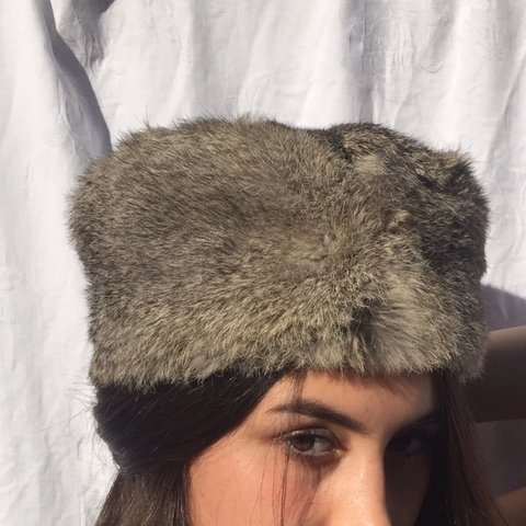 f78e4e14a3b Authentic vintage rabbit fur hat from Russia Size- small - Depop
