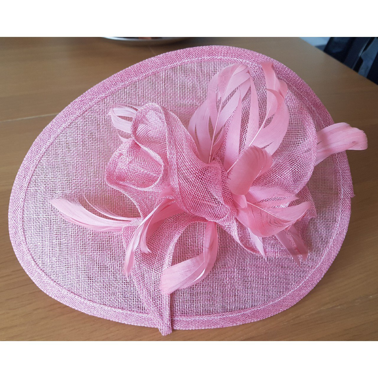 Coral Pink Hatinator Fascinator on Headband. Bought for £35 - Depop e2ff46a8239