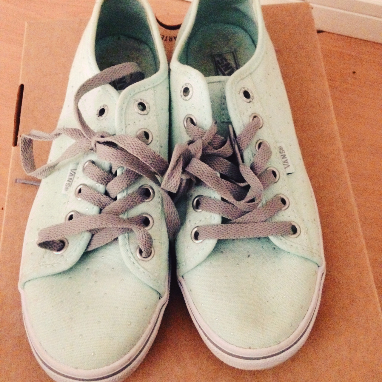 3005a82ed Size 4 Mint green sparkle vans ! Worn only once ! RRP: £45 - Depop