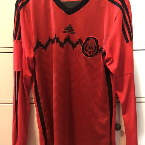 fb52ee608 Adidas Soccer jersey men's small long sleeve Mexico jersey - Depop