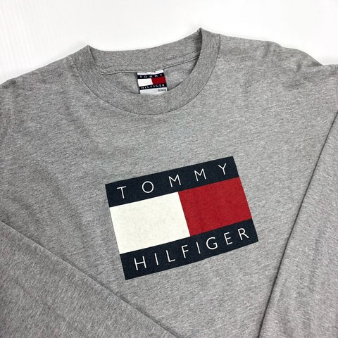 32dfeb5e @thetruthbrand. 4 months ago. United States. Tommy Hilfiger Big Flag Box Logo  Vintage 90s Long Sleeve Shirt • Size Mens XL • Excellent Condition No ...