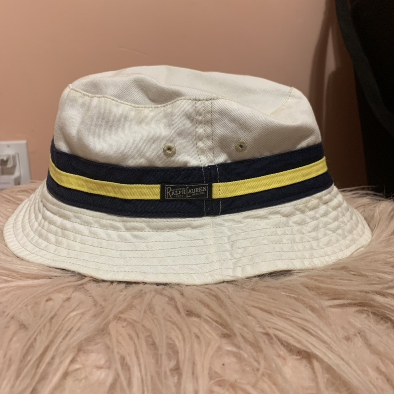 fca5ff14488 Polo Ralph Lauren reversible bucket hat White colorway with - Depop