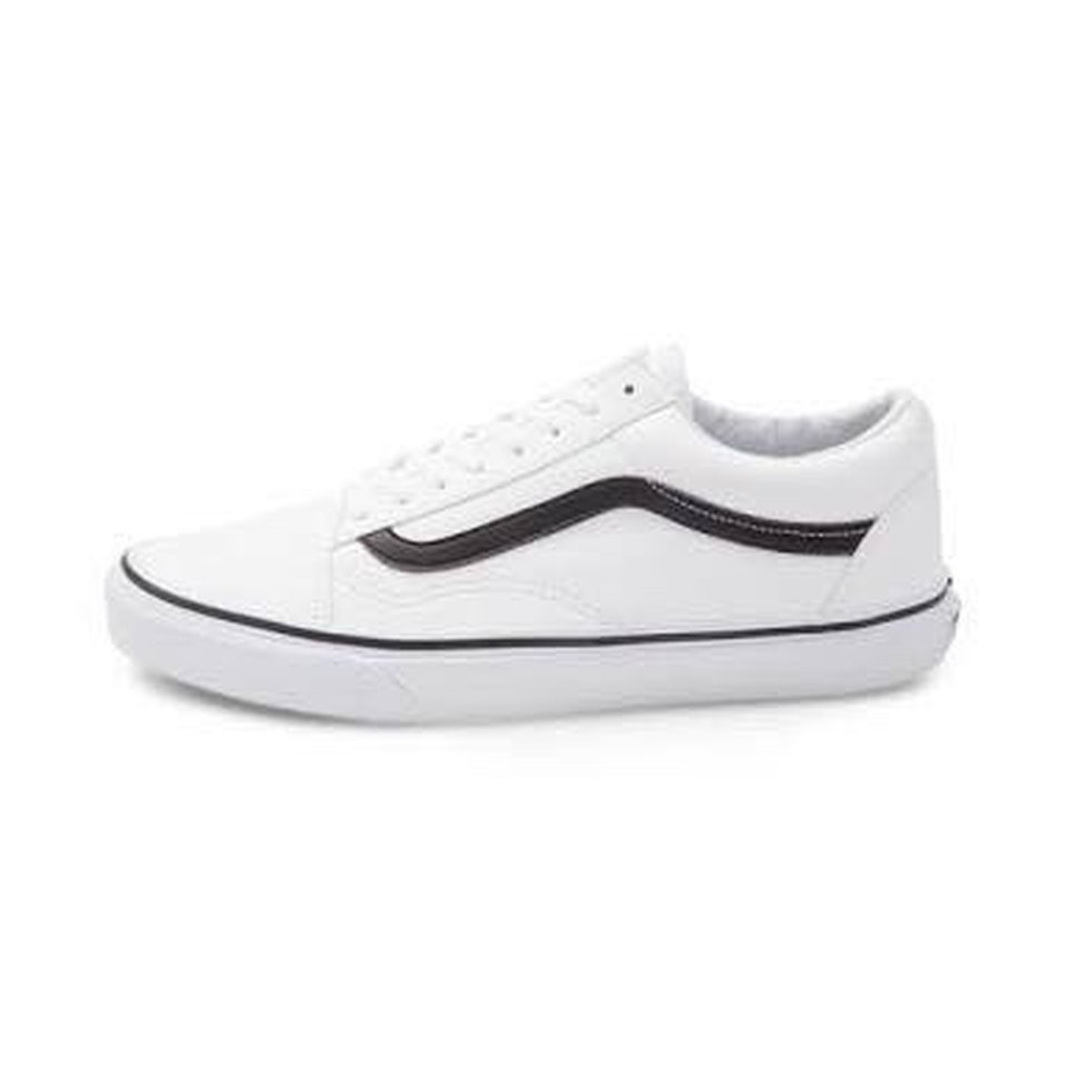white vans with black line