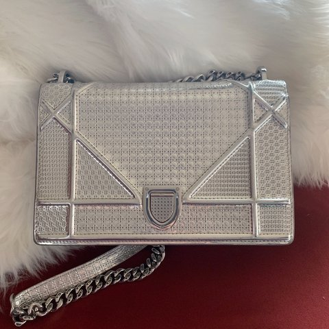 fdbbeed0e8a5 CHRISTIAN DIOR Metallic Calfskin Micro-Cannage Medium Flap - Depop