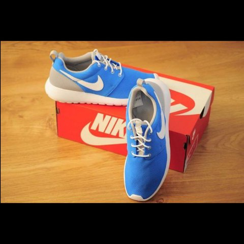 eb41c1319c47 Blue and Grey Nike Roshe Run size 6 Never worn come in the 6 - Depop