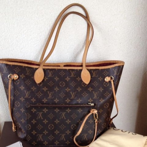 ad046cf651a3 LouisVuitton Neverfull MM Monogram with Discontinued Pivione - Depop