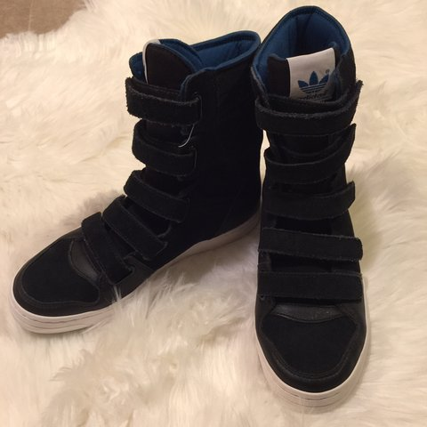 size 40 8ccea bb5f5  penosjourney. 5 days ago. Seattle, United States. Adidas Originals Hightop  Shoes Black Blue Suede Velcro Sneakers Trefoil Faux Leather ...