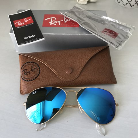 79092f957b Genuine ray-ban aviator blue lens sunglasses. Blue polarised - Depop