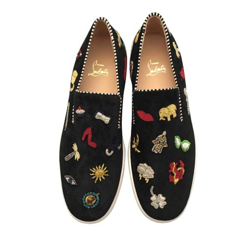 efca68045a2e CHRISTIAN LOUBOUTIN slippers with embroidery. Real suede and - Depop