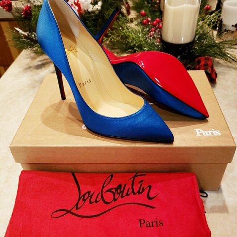 44a0c7a550a8 Authentic Brand New Christian Louboutin 100 MM Blue Satin 35 - Depop
