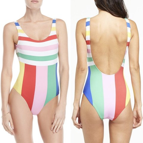 9d373f6402999 @theluxeflip. 3 months ago. Pflugerville, United States. NWT Onia Kelly  Striped One-Piece Swimsuit