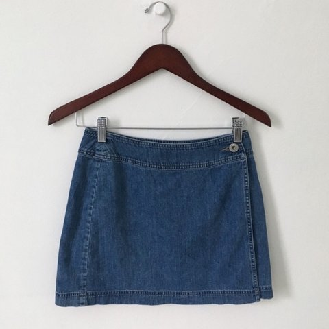 0aa6b820 Vintage 90s denim wrap skirt. Two button closure, hidden is - Depop