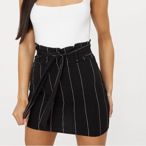 dd439bc11c74 @courtneytm. 3 months ago. United Kingdom. Black Pinstripe Tie Waist Mini  Skirt