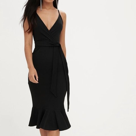 d6ac2b0f640f @danahalsteadx. 13 days ago. Settle, United Kingdom. Pretty little thing  black strappy tie waist fishtail midi dress. New with tags. Size 8