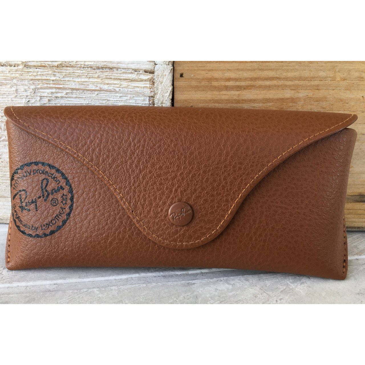 24cb688d84 Ray-Ban Leather Brown Tan Case 😎 Standard glasses case NEW - Depop
