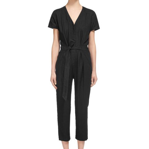 8004017da7 Whistles  Linen Philipa Jumpsuit  in black
