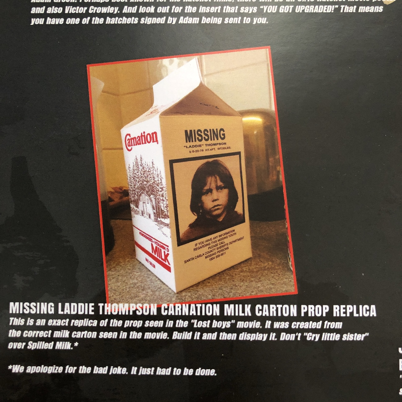 Prop Replica Of The Milk Carton From The Movie Lost Depop