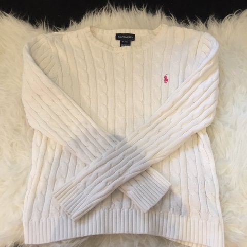 4cb9426339b RALPH LAUREN cable knit jumper in white Youth size XL (16) - Depop