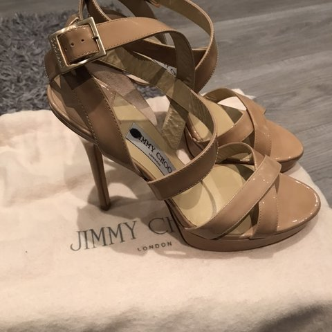 d771169bcb5 Jimmy Choo 'vamp' nude leather high heel sandals. Sold in In - Depop