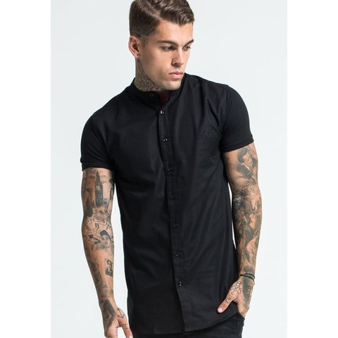 2b9bd60b Men's SIK SILK black muscle fit short sleeve shirt with a or - Depop
