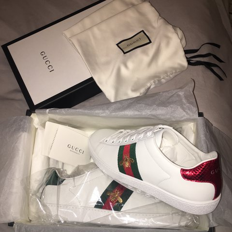 7520918b50c Brand New Gucci Trainers 👟 SIZE 38 fits size 39 message to - Depop