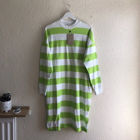 e02f3a49088 Neon green and white stripe sweater dress with pockets from - Depop