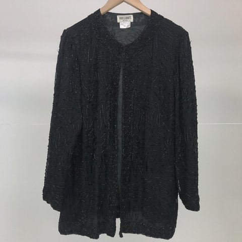a50872de24a Vintage black beaded blouse cardigan 100% silk Used for - Depop