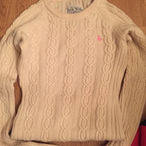 a9cf2635d Jack wills cream cable knitted jumper size 8