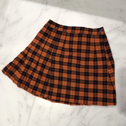 45cc33a56 @ltepper. 3 months ago. New York, United States. Orange and Blue Navy Checkered  Pleated Mini Skirt. school girl ...