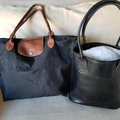 134cc26f1be Stunning Classic LONGCHAMP Leather Tote AND Nylon Le Pliage - Depop