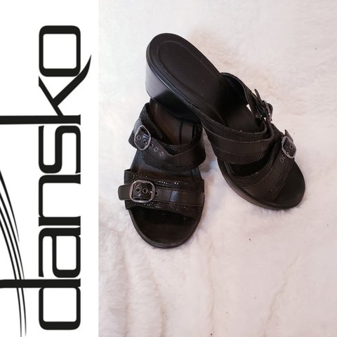c45025620ea0 Dansko Jessie Black Platform 2 Buckle Slide Sandals belts of - Depop