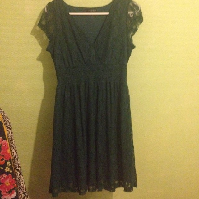 Army green lace dress cd2bfea31