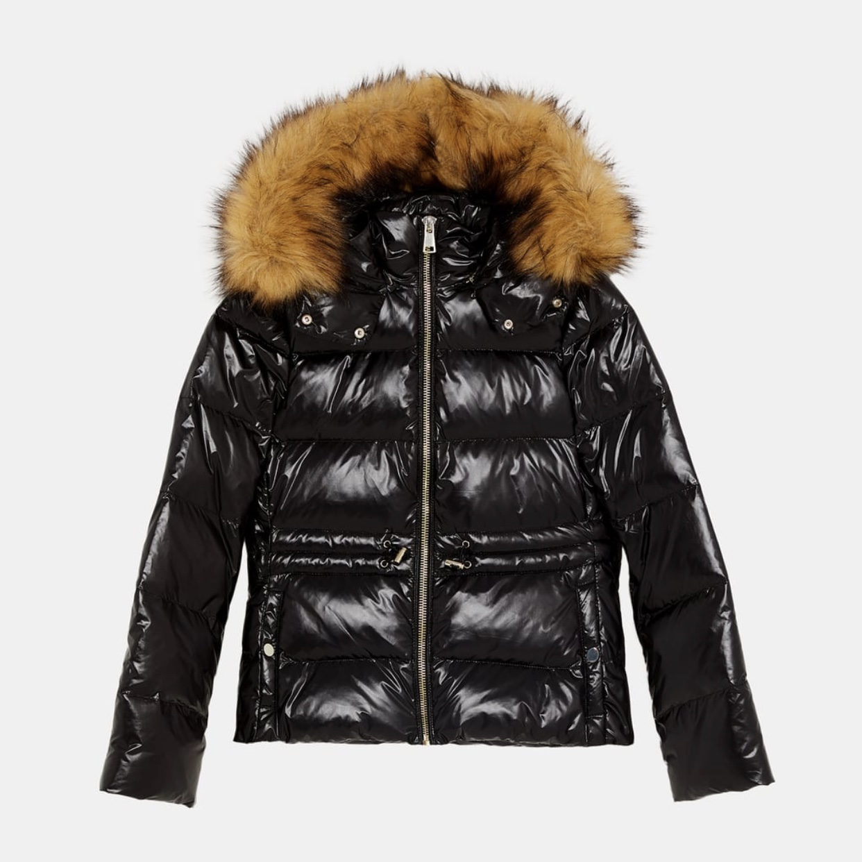 25c3fe12 Zara black shiny puffer jacket with faux fur hood... - Depop