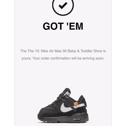 6e367a26aaf7 OFF-WHITE The Ten  Nike Air Max 90 Baby   Toddler. Size UK - Depop