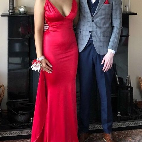 2888269f7dcb Red Satin Debs Dress. Gorgeous fit. Size small (8-10). Low - Depop