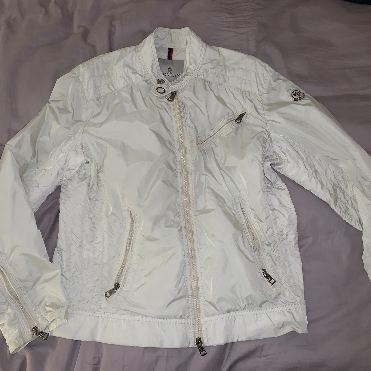 Lovely Moncler white spring summer jacket This was Depop