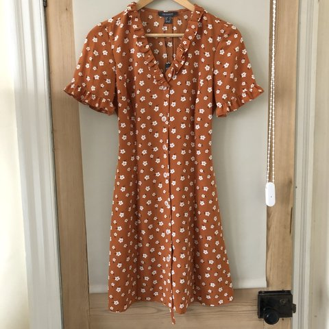 ba619417 @emmyelizabee. last month. Derby, United Kingdom. Primark atmosphere burnt  orange floral tea dress. Button down ...