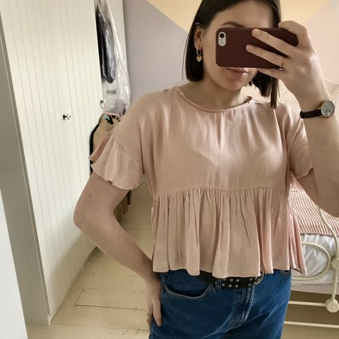 58c54a9a43ddb Pale pink silk frill top from Zara - barely worn - size XS - Depop