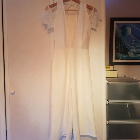 eccdfb19a4 Marbella inspired plunge front   back white jumpsuit with on - Depop