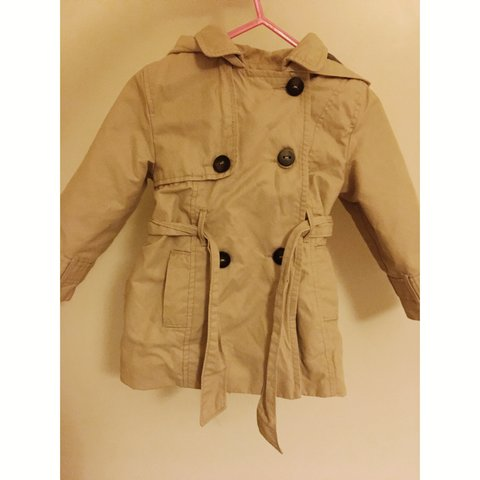0ce8ff610636 Zara baby girl beige hooded trench coat