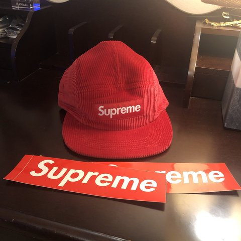 5e2f1db863c Red supreme corduroy camp cap. Fresh out of the box and with - Depop