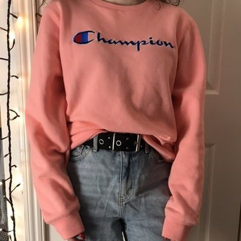 8bee446e Pink Champion jumper, it's a kids size 13-14 years but on - Depop