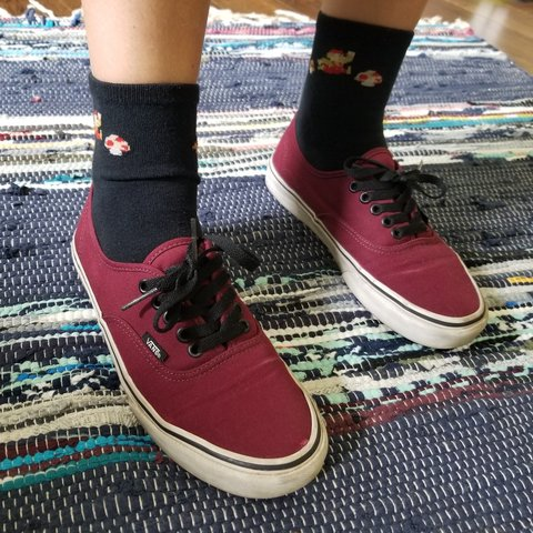 f6160111e2381d PRICE DROP! Maroon Vans with black laces. Have been worn a A - Depop