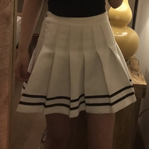 8631e44686 size 8 thick white skirt with black lines❤ bought it for - Depop
